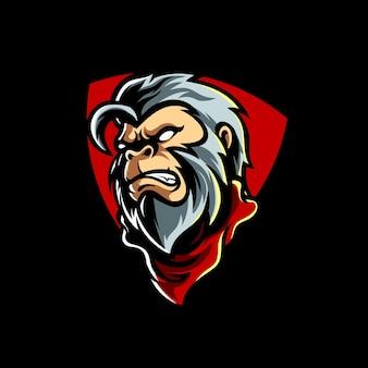 Logo Maskotka Małpa Białe Włosy Premium Wektorów