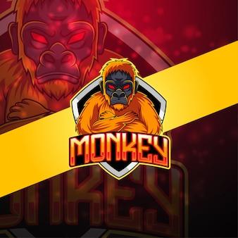Logo maskotka małpa esport