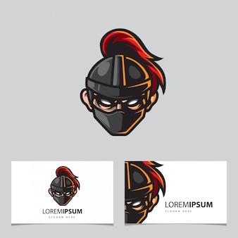 Logo maskotka mroczny rycerz, szablon karty imienia