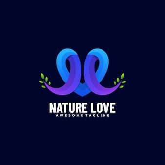 Logo maskotka natura miłość gradientu kolorowy styl.