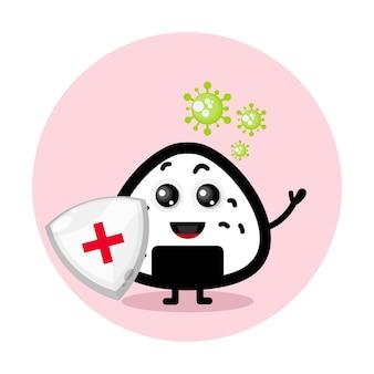 Logo maskotka ochrony przed wirusem onigiri .