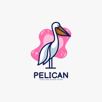 Logo maskotka pelikan w stylu cartoon.