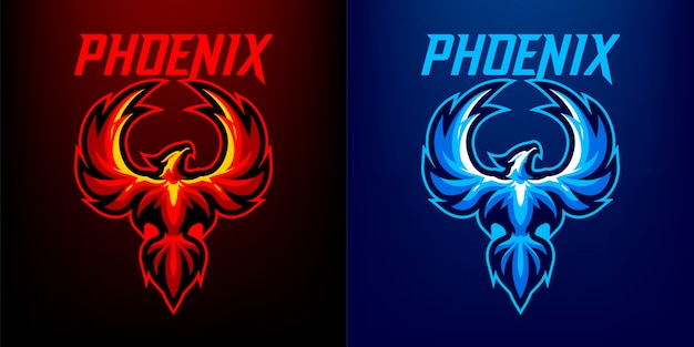 Logo maskotka phoenix dla sportu i e-sportu na białym tle