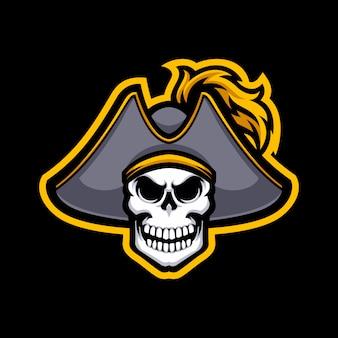 Logo maskotka pirat czaszki na białym tle