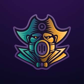 Logo Maskotka Piratów Premium Wektorów