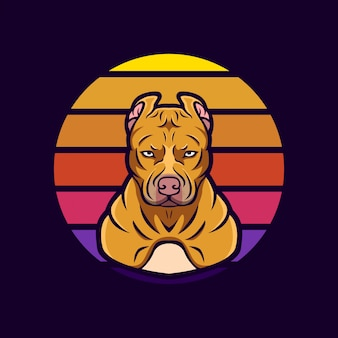 Logo maskotka pitbull retro
