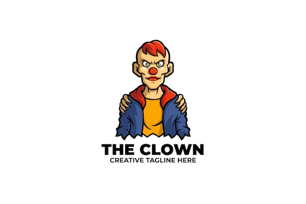 Logo maskotka przerażający clown man