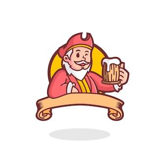 Logo maskotka retro pirat piwa