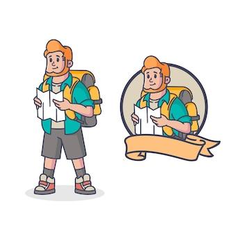 Logo maskotka retro podróżnik