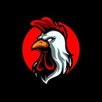 Logo Maskotka Sport Głowa Koguta Premium Wektorów