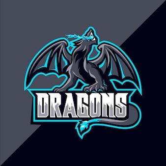 Logo maskotka sportowa smoka