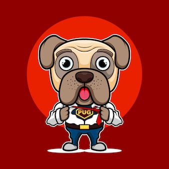 Logo maskotka super mops pies