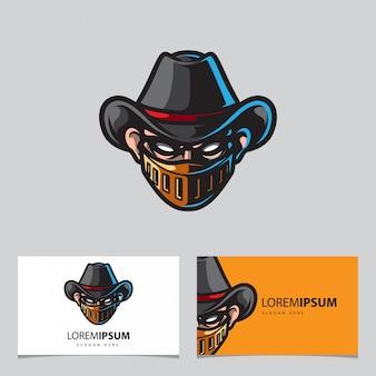 Logo maskotka wojownik kowboj