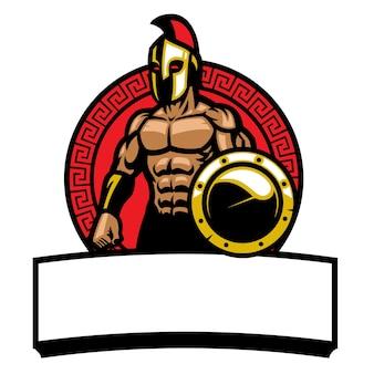 Logo maskotka wojownika spartańskiej armii na białym tle