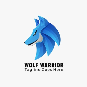 Logo maskotka wolf warrior gradient colorful style.