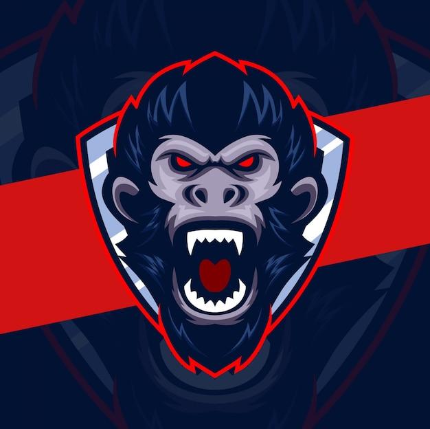 Logo maskotka wściekła głowa małpy esport