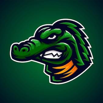 Logo maskotka zielony krokodyl aligatora