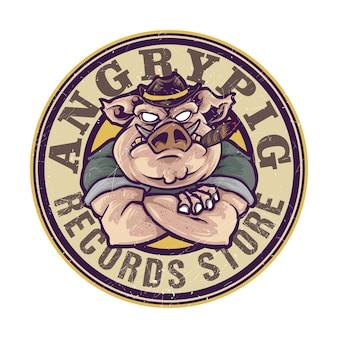 Logo maskotka zły gangster palenie świnia