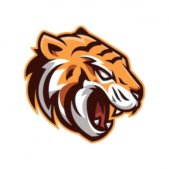 Logo maskotka zły tygrys
