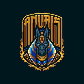 Logo maskotki anubis dla e-sportu i drużyny sportowej