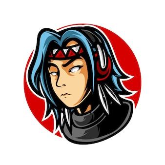 Logo maskotki apache gaming girl