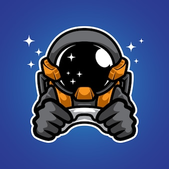 Logo maskotki astronauta space gamer