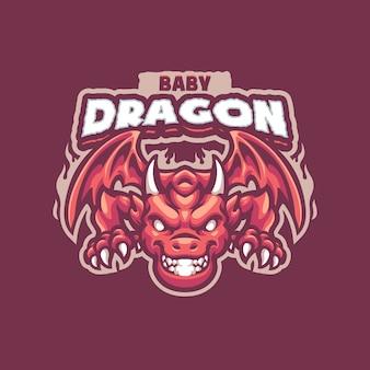 Logo maskotki baby dragon dla drużyny esportowej i sportowej
