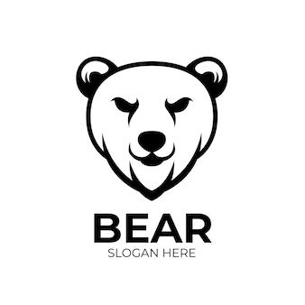 Logo maskotki bear creatives projektuje czarne