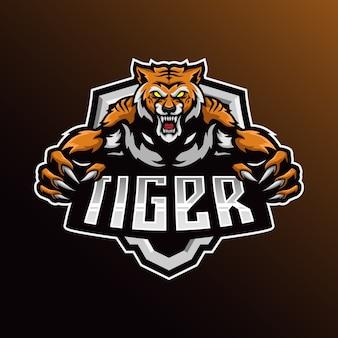 Logo maskotki bestii esport szablon ilustracji.