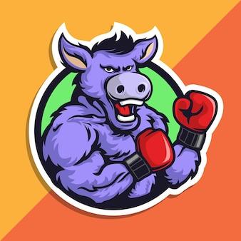 Logo maskotki bokserskiej jackass. osioł w rękawiczkach.