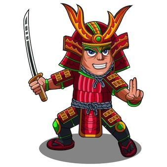 Logo maskotki chibi wojownika samuraja
