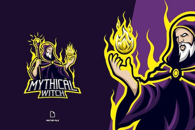 Logo maskotki czarownicy dla szablonu zespołu e-sportowego do gier