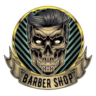 Logo maskotki czaszki babershop