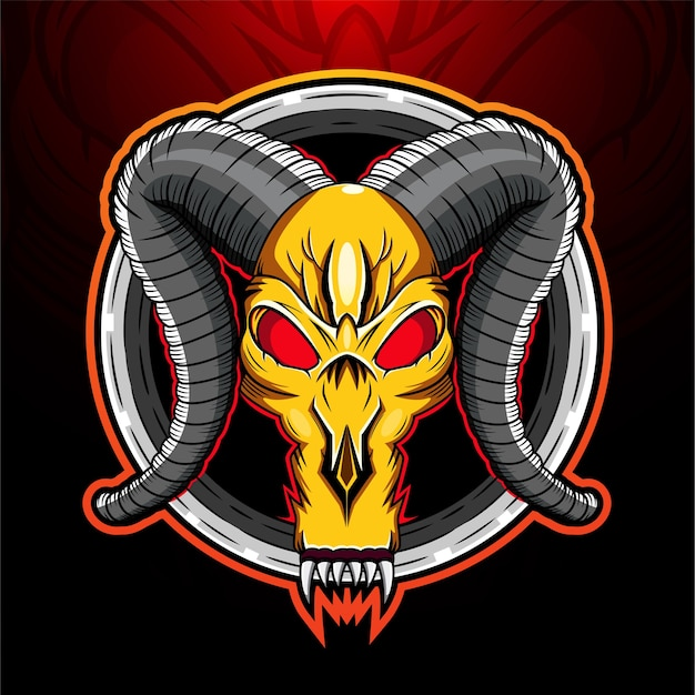 Logo maskotki czaszki barana