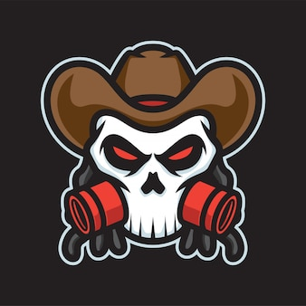Logo maskotki czaszki gangstera