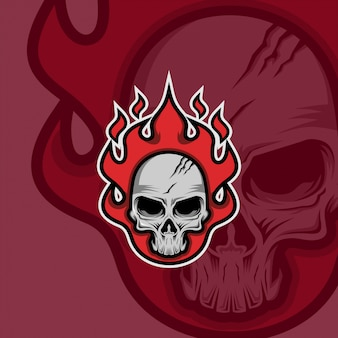 Logo maskotki czaszki ognia