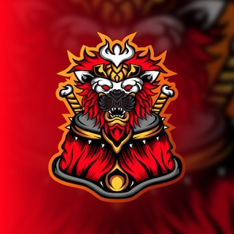 Logo maskotki do gier lion commander