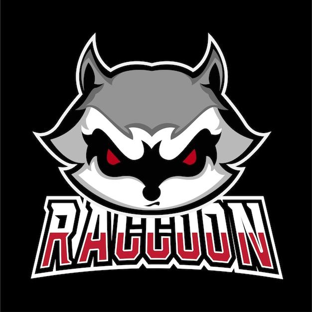 Logo maskotki do gier sportowych i e-sportowych racoon