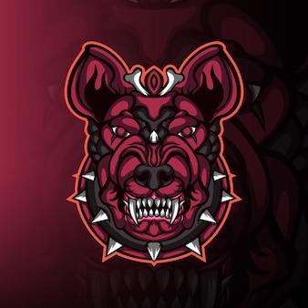 Logo maskotki do gier z głową potwora buldoga