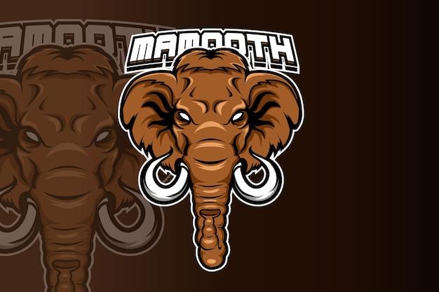 Logo maskotki dzikiego słonia do elektronicznego logo gier sportowych
