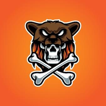 Logo maskotki dzikiej czaszki z krzyżem kości