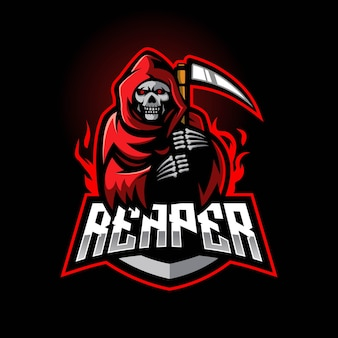 Logo maskotki e-sport grim reaper