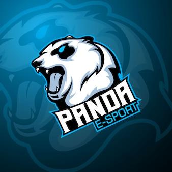 Logo maskotki e-sport niedźwiedzia lub pandy