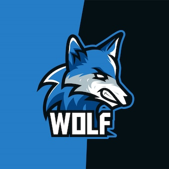 Logo maskotki e-sport wilk niebieskiego nieba