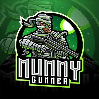 Logo maskotki e-sportowca mumia