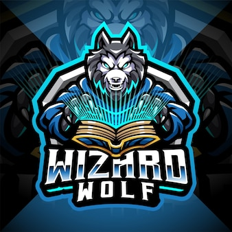 Logo maskotki e-sportowego czarodzieja wilka