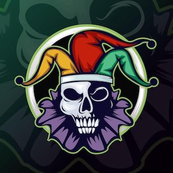 Logo maskotki e-sportowej czaszki jokera