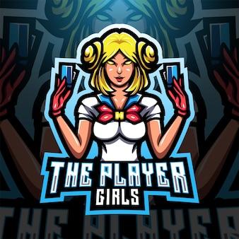 Logo maskotki e-sportowej dziewczyny gracza