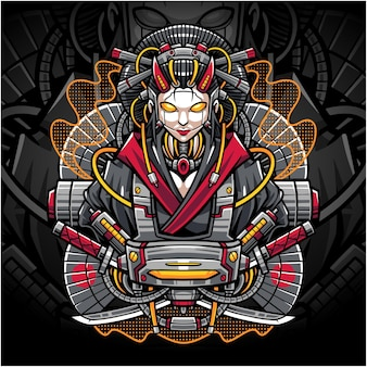 Logo maskotki e-sportowej gejszy