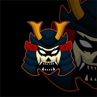 Logo maskotki e-sportowej głowy samuraja